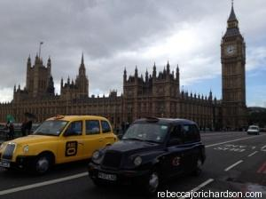 London taxis and Big Ben